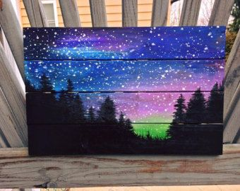 Magical Night Sky Painting II, northern lights, aurora borealis, crescent moon…