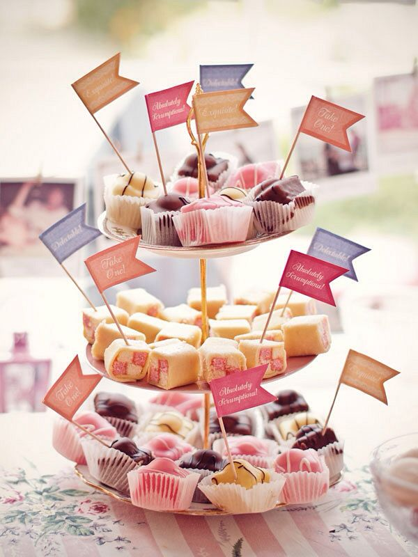 afternoon tea food flags. Great idea for a summer tea party