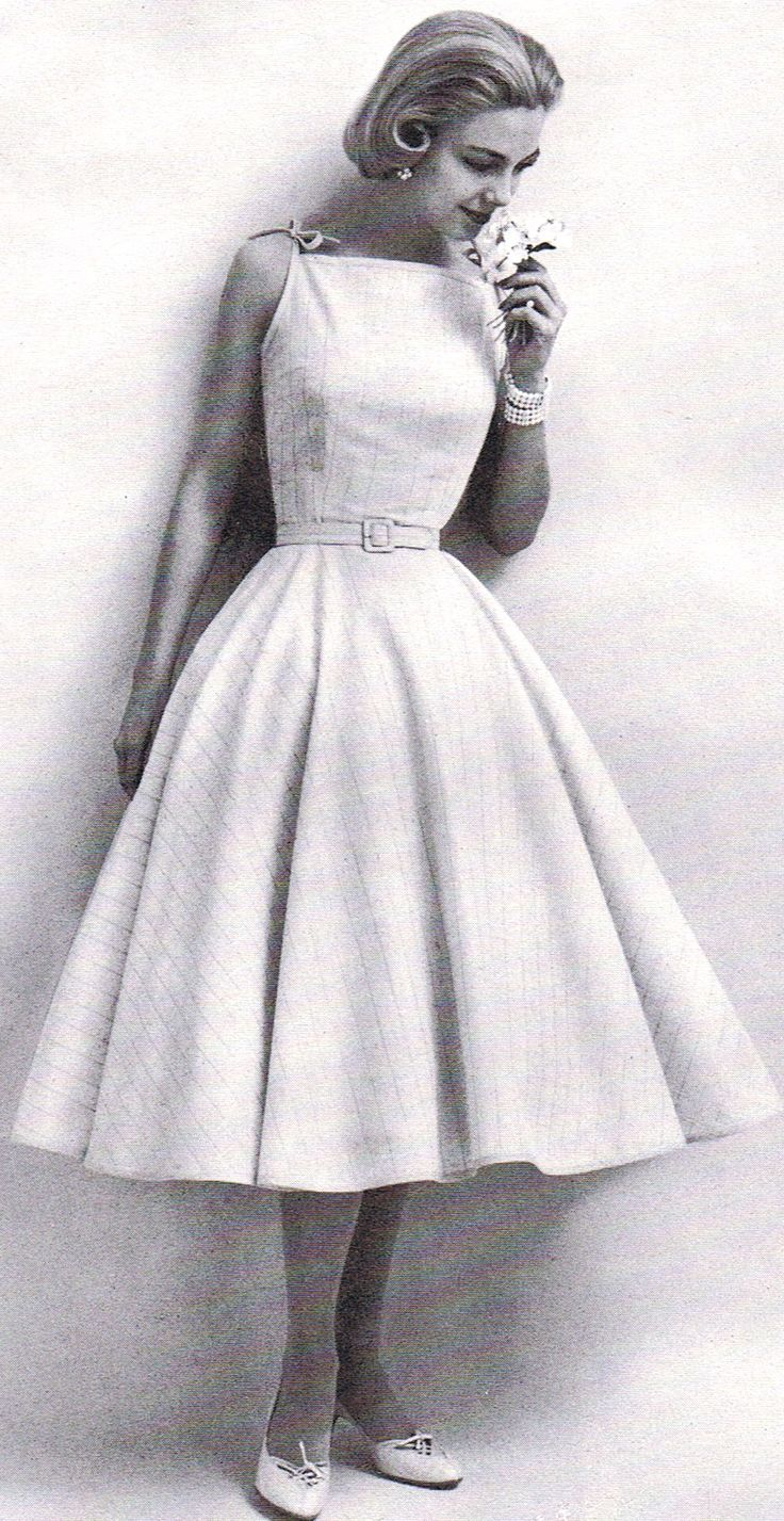 sweet 50's dress modeled by Gretchen Harris- total inspiration for some of the neckline trends seen currently