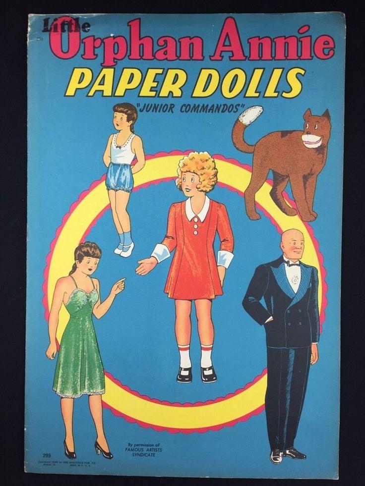 Vintage 1942 Little Orphan Annie Junior Commando Comic Cut Out Paper Dolls Uncut