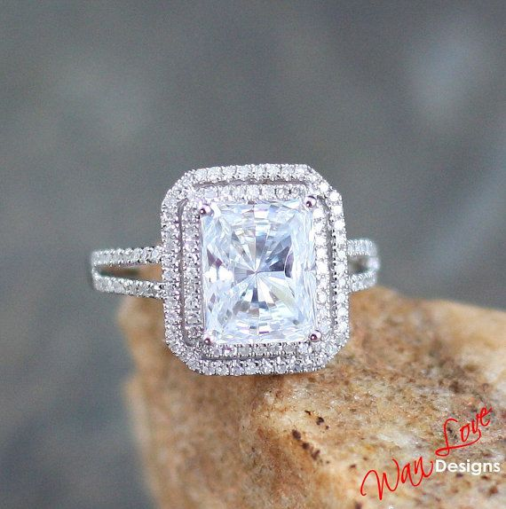 5th Anniversary, maybe??? Hahaha probably more like 10th Moissanite & Diamond 2 Halo Radiant Wedding ring by WanLoveDesigns