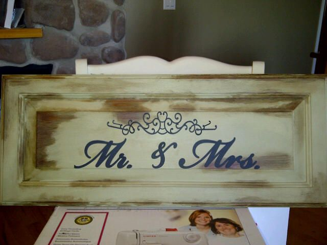 Custom Sign Board. Using Annie Sloan 'Cream' Chalk paint. Clear & Dark wax with distressing. Perfect for any Mr. & Mrs. Find me on facebook to see many great items. Nick Knack of Medicine Hat