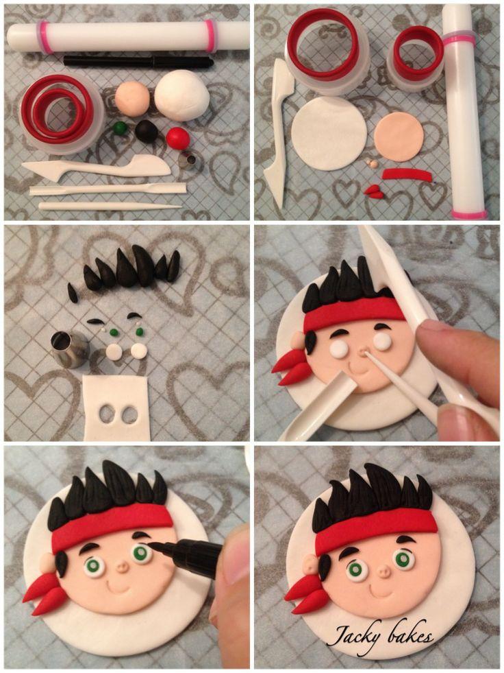 """Pirate tutorial Cupcake topper """"Jack"""""""