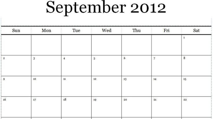 September 2012 Calendar Printable PDF