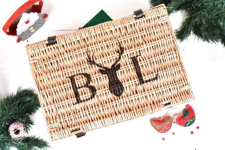 Personalised Christmas Hamper, Stag Design Christmas Hamper Gift, Fortnum & Mason Style, Wicker Picnic Basket by OriginalMonkey on Etsy https://www.etsy.com/uk/listing/552769806/personalised-christmas-hamper-stag