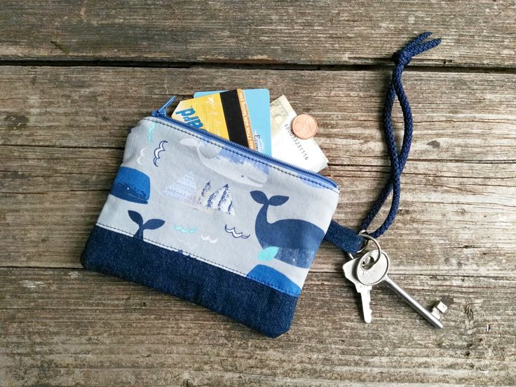 Whales Pouch Keychain Wallet.  Mini zip clutch. Cash, Cards  Case Holder. Accessory outfit. Christmas Holidays gift for her or him funny by KatiaFabricStudio on Etsy