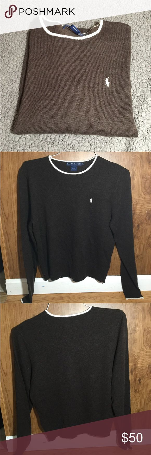 Polo Ralph Lauren Crewneck Sweater Excellent Used Condition  Polo Ralph Lauren  Women's Crewneck sweater  58% silk 42% Cashmere  Size: XL Color: brown with cream around the collar and cuffs and cream pony From a smoke free and pet free home No holes or stains Ralph Lauren Sweaters Crew & Scoop Necks