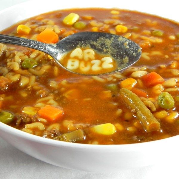 "Alphabet Soup | ""A quick and easy vegetable soup made with ground round and spicy vegetable juice cocktail. My kids love it!"" #recipe #lunch"