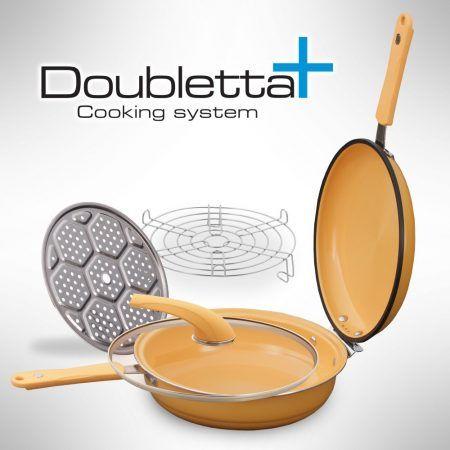 Doubletta Plus este un sistem de gatit cu presiune joasa. Are forma unei tigai, insa este mult mai mult decat atat. Spre deosebire de tigai, Doubletta Plus se poate folosi pe ambele parti. Functioneaza similar cu oalele sub presiune. Sistemul de gatiti Doubletta Plus poate fi folosit pentru fiert, copt, prajit, inabusit si chiar si[..]    Citeste articolul
