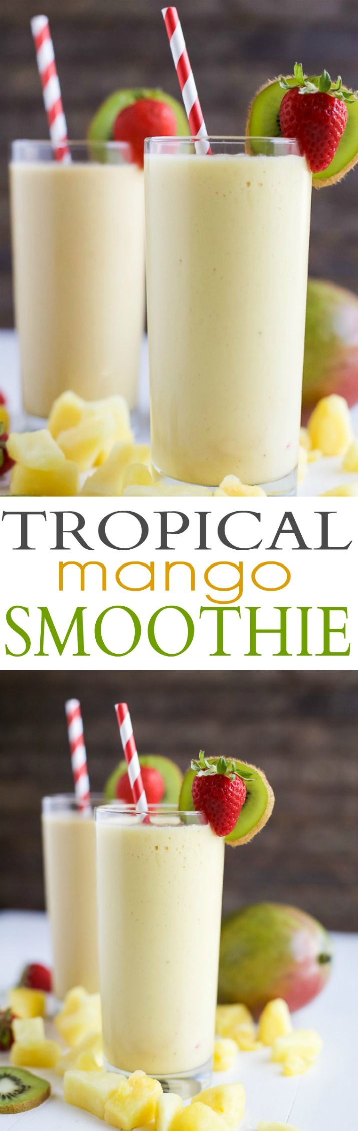 This refreshing Tropical Mango Smoothie is the perfect way to start your day. Fresh flavors that will take you straight to the beach and with 21 grams of protein!   joyfulhealthyeats.com   #drinkitallin #ad