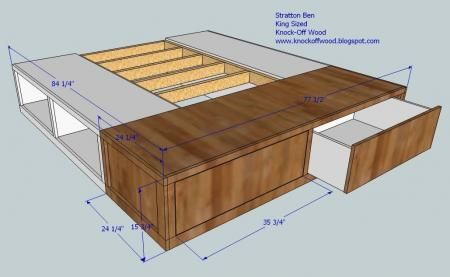 I want to make this!  DIY Furniture Plan from Ana-White.com  Creating a King Size Storage bed is no more difficult than a queen. You simply make the bottom bench wider! As Twenty-Six-2-Life says, those drawers are huge! Thanks for sharing your photos, Kate.