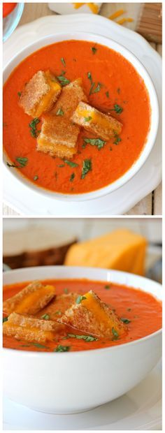 """Creamy Tomato Soup with Grilled Cheese """"Croutons"""" - The perfect kind of comfort food together in one cozy bowl of soup!"""