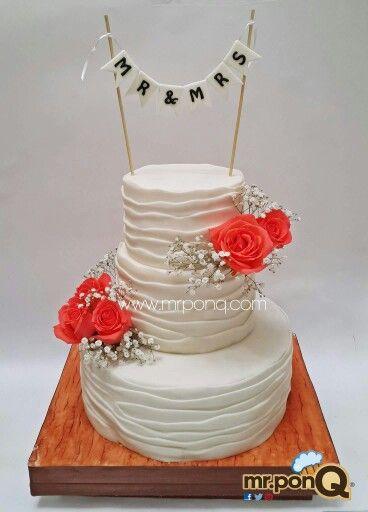 torta boda con rosas naturales - mr.ponQ