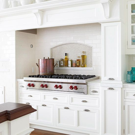 I like the clean white look.  The functional back splash idea is great as long as I can keep it looking organized and not collect all kinds of ugly junk there!