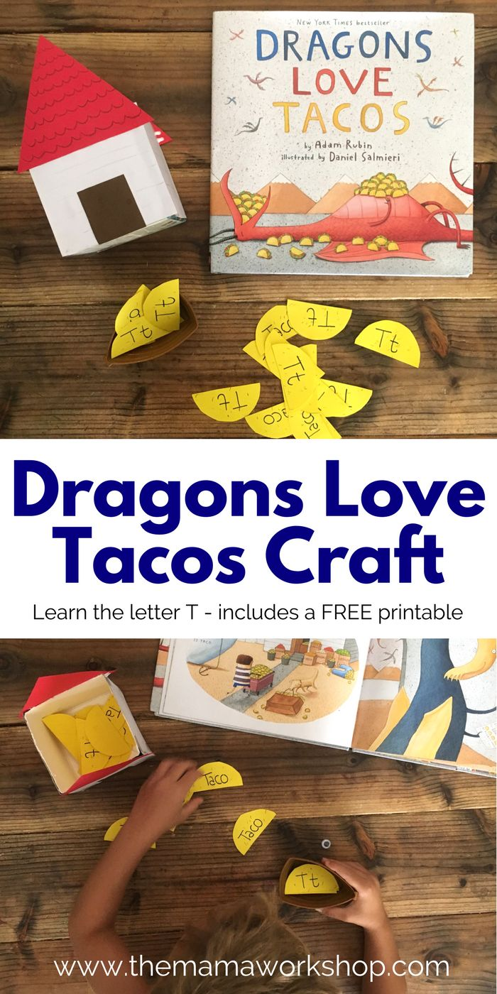Make this Dragons Love Tacos Craft for some interactive fun while reading the book. Learn the letter T with the matching game! Plus, FREE printable!
