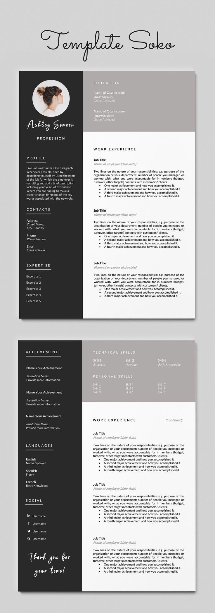 2 page resume template cv template curriculum vitae