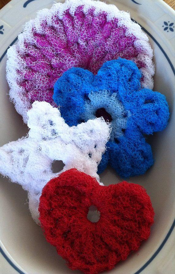 Nylon Pot Scrubber Dish scrubber, 4 Double Layered Crocheted Scrubbies, 1 Signature Scrubber, 1 Flower Scrubber, 1 Star Scrubber, & 1 Heart