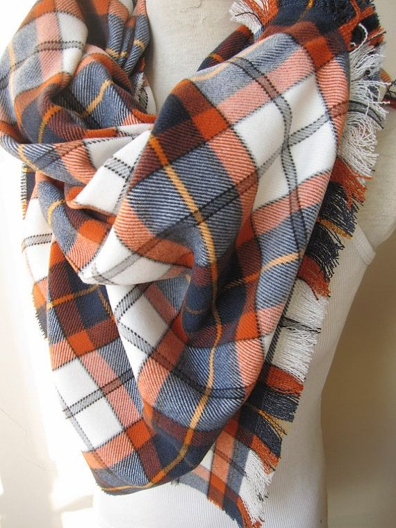 Hello and thank you for stopping by scarves2012  Tartan plaid blanket scarf/oversize blanket scarf/orange navy blue plaid scarf/Turkish shawl scarf