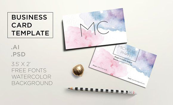 Creative watercolor business card by Chic templates on @creativemarket