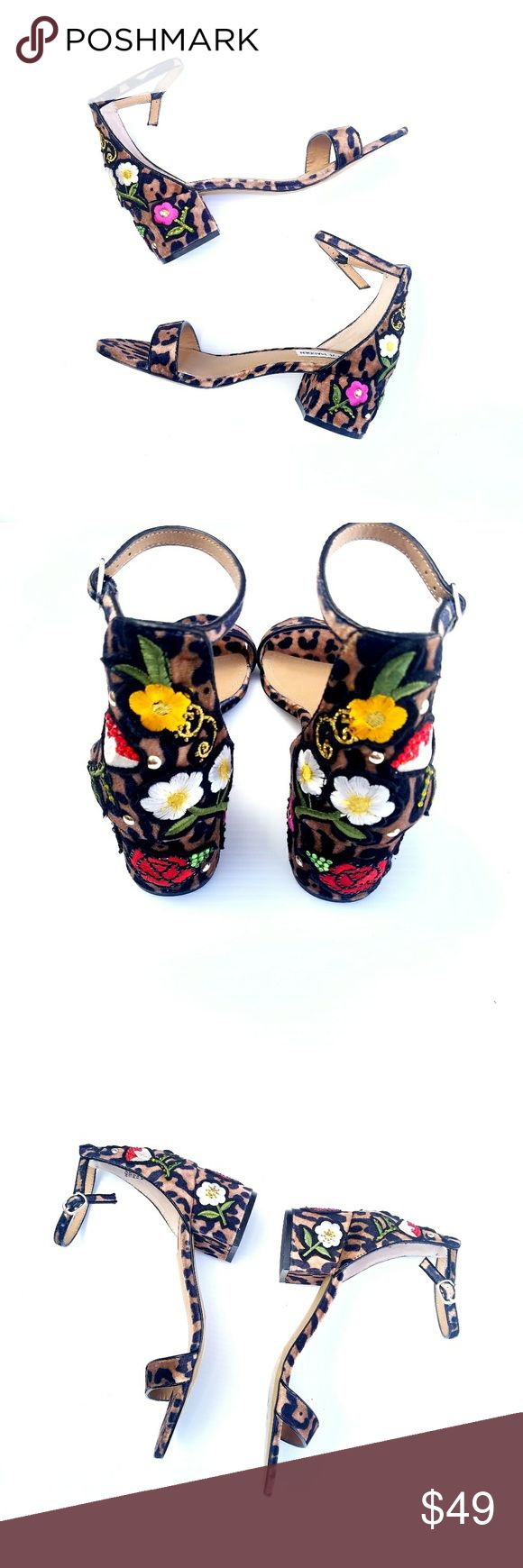 Steve Madden Leopard Embroidered Inca Sandal Steve Madden Leopard Embroidered Strappy Shoes, new without box, never worn, heel ~2 in Excellent, new condition. Feel free to ask me any additional questions. No trades or modeling. Happy Poshing! Steve Madden Shoes Sandals