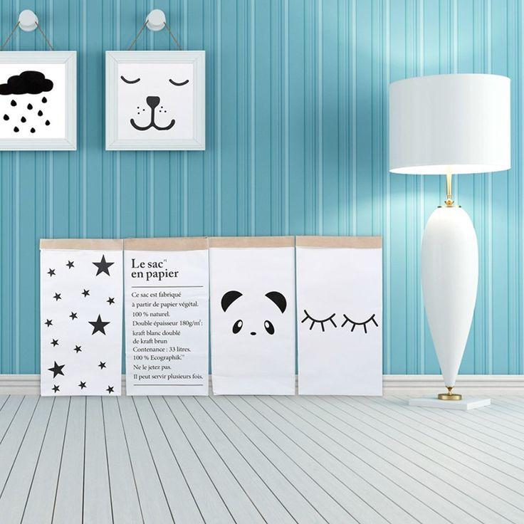 Bolsa de lona Bolsa de Almacenamiento de Dibujos Animados de Gran Gran Papel Kraft Para Habitaciones de Niños Organizador Bolsa Patrones Bolsa de Lavandería para Juguete Del Bebé Clothings