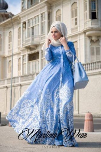 blue maxi dress hijab chic- Hijab fashion inspiration…