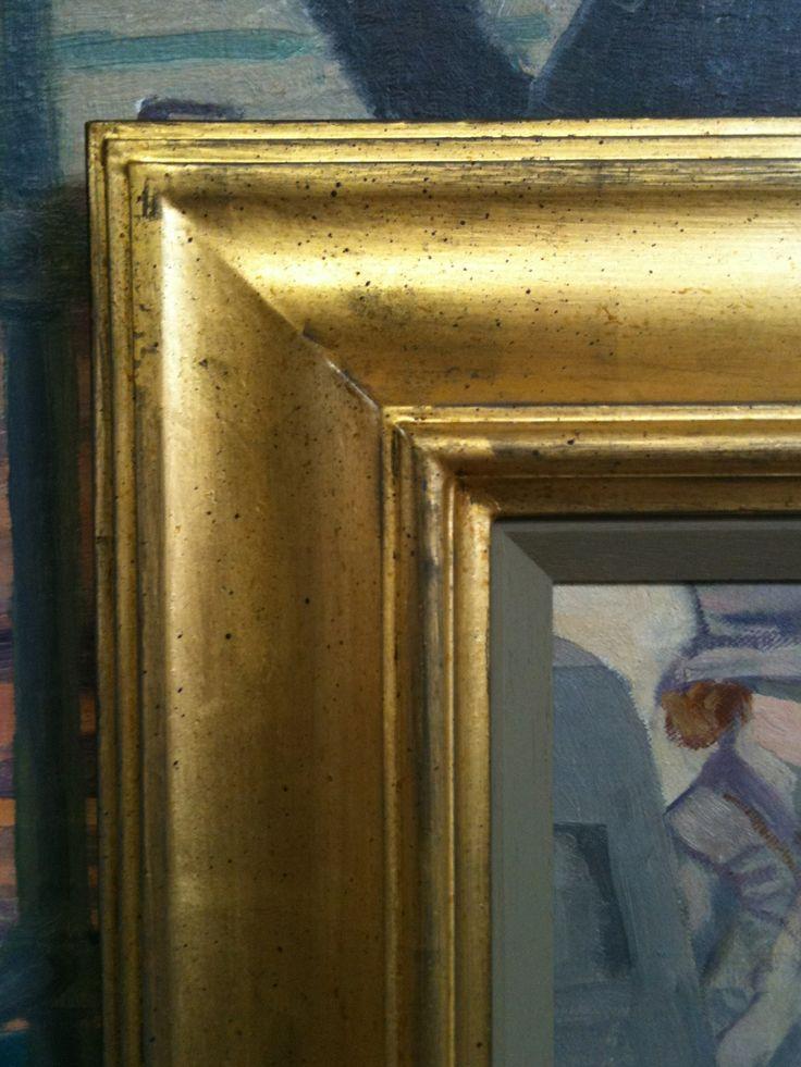 A reverse frame moulding, I oil gilded over a black gesso with a schafe speckle.