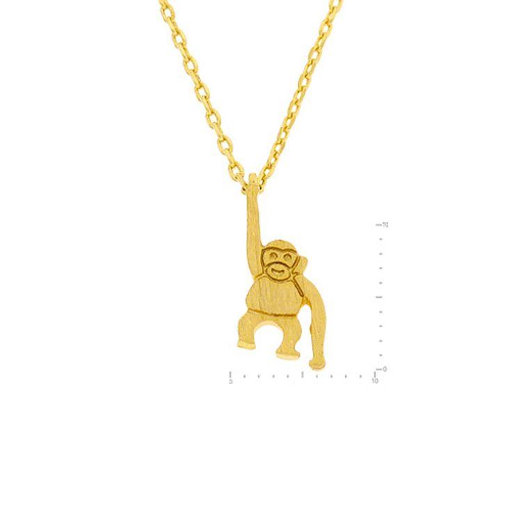 Gorilla Pendant Brass Necklace