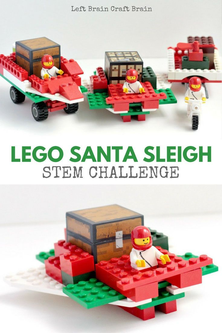 Challenge the kids to a LEGO Santa sleigh building game. Who can build the best sled for Santa? It's a great Christmas themed STEM activity.