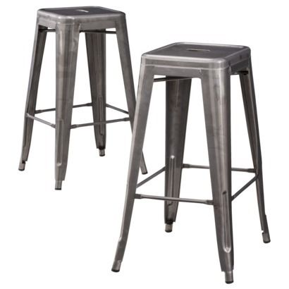 Carlisle Metal Bar Stool - Set of 2 for under $100 : also comes in copper, navy, green, and yellow