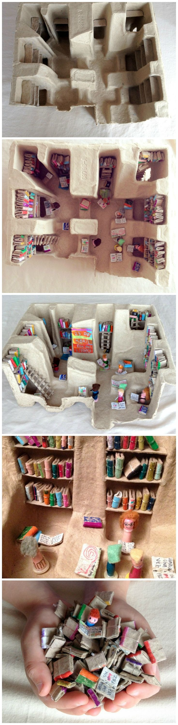 Library made out of cardboard :: junk model :: small world ideas