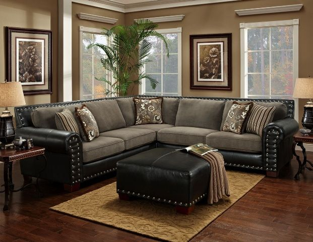 Universal - Sterling - Two-Toned - Bonded Leather - Grey - Sectional | MonsterMarketplace : two tone leather sectional - Sectionals, Sofas & Couches