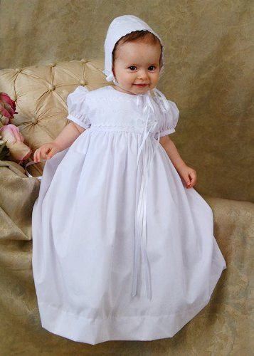 #White #Poly Cotton Christening Baptism Gown with Lace Border with #Bonnet   beautiful little gown, great value for the price   http://amzn.to/I5nIQP