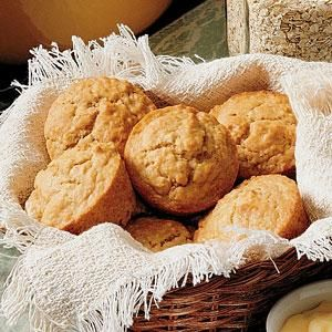 Buttermilk Oatmeal Muffins Recipe -These delicious muffins were a significant part of the first dinner I had with my wife when we were courting. She's an excellent cook, and that first meal was truly a gourmet's delight. Now whenever she plans a menu and asks for my suggestions, I make sure these muffins are on it. —Robert Luebke, Appleton, Wisconsin