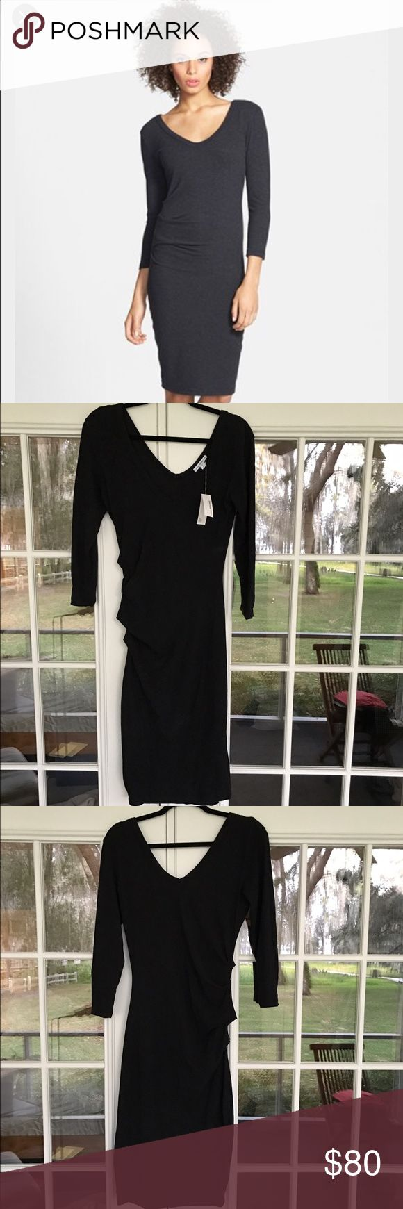 NWT James Perse Double V tucked dress - SZ 4(LRG) NWT James Perse Double V tucked dress - SZ 4(LRG) ; in black (color is actually a really dark charcoal grey) - purchased about a year ago and never wore it, can be dressed up or down and is VERY soft. James Perse Dresses Long Sleeve