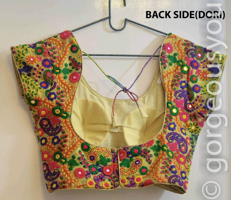 Designer Georgette Padded Blouse With Floral Multicolored Kutch Embroidery Work