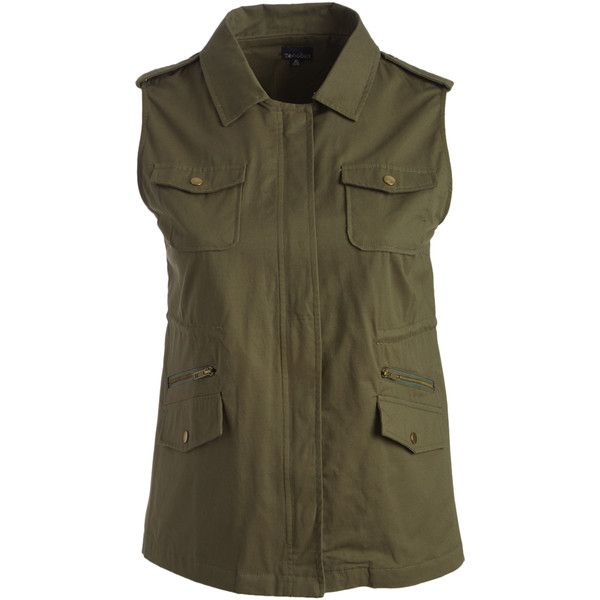 Zenobia Olive Military Vest ($33) ❤ liked on Polyvore featuring plus size women's fashion, plus size clothing, plus size outerwear, plus size vests, plus size, long brown vest, army green military vest, plus size vest, military style vest and vest waistcoat