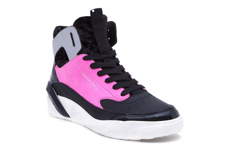 These shoes are straight from the future. Make a statement in our new flashy high tops.  • Neoprene sock high top • Premium Italian leather • Chenille toe cup and tongue • Heel stabilizer • Lycra lining • Phylon midsole and rubber outsole • Color fuchsia • Fits true to size Product Number: 25721A17 73