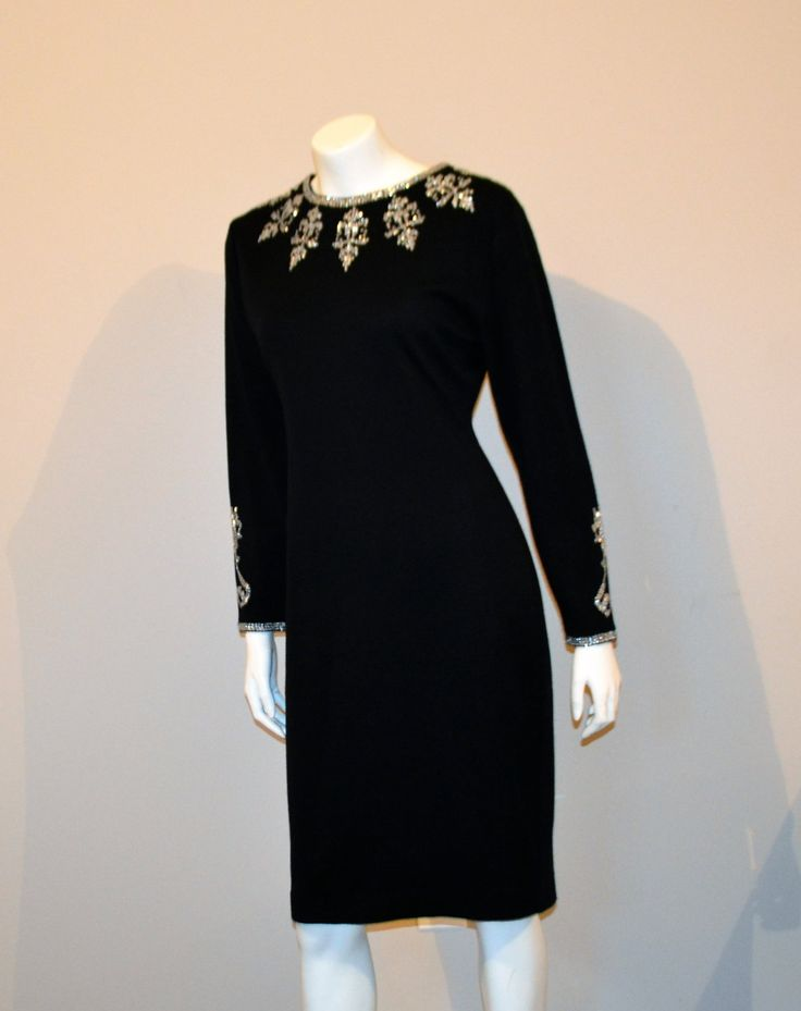 Vintage Black Dress with Silver Trim by CheekyVintageCloset on Etsy