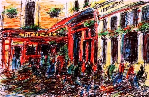 Sketch of people enjoying the cafes and bars in Temple Bar, Dublin. Art by Kirstin McCoy www.kirstinmccoy.com