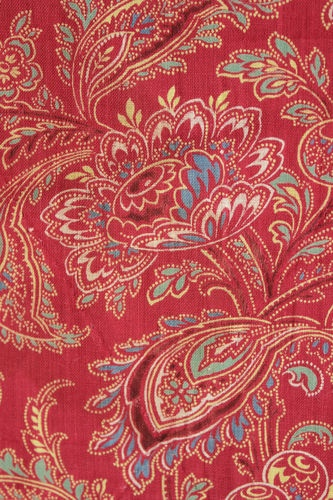 Antique French Printed Cotton Turkey Red Ground Block Printed Fabric c1850'S   eBay