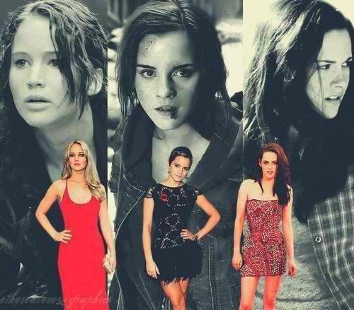 Jenifer Lawrence (Hunger Games), Emma Watson (Harry Potter) & Kristen Stewart (Twilight)
