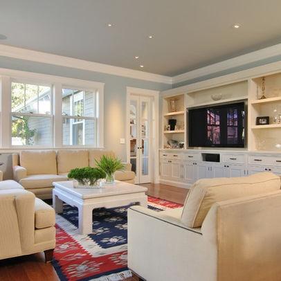 Grey White Cream With Persian Rug Color Scheme Idea Built In Entertainment Center