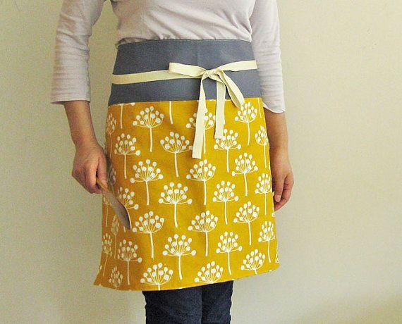 Reversible half apron  mustard flowers by oktak on Etsy, $38.00