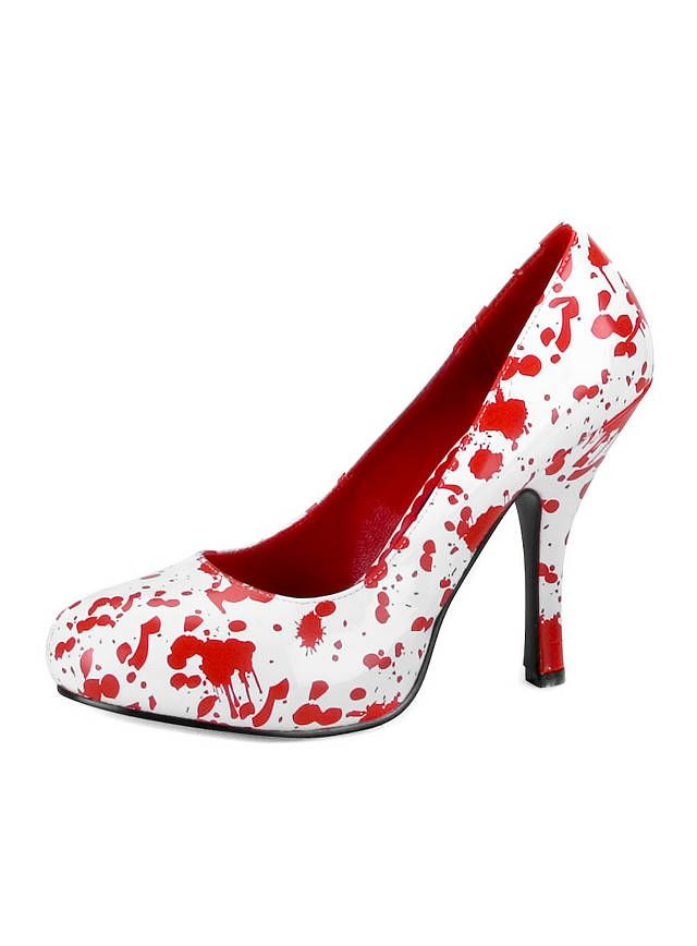 white heels with red (blood) splatter