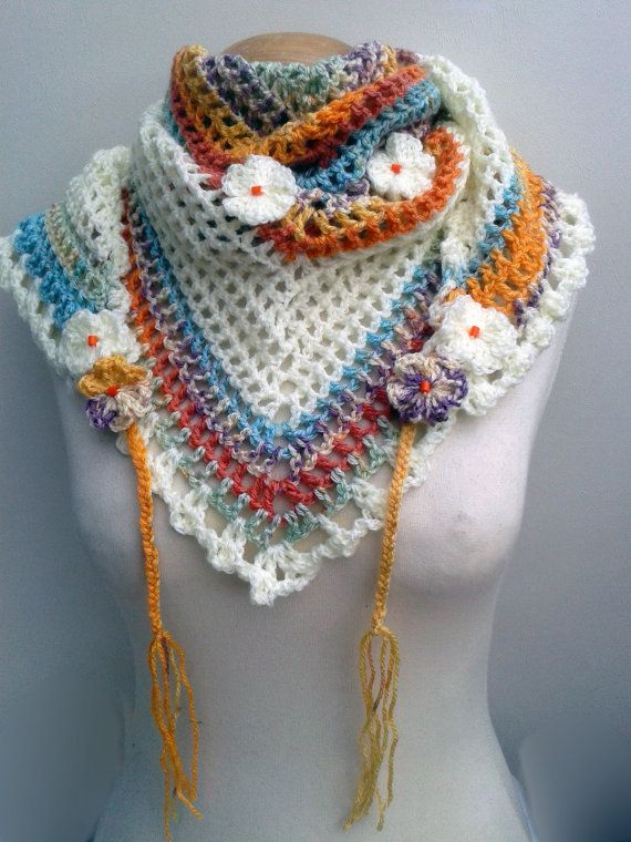 Whizz Crochet Triangle Road Trip Scarf by FunkyFroggit on Etsy