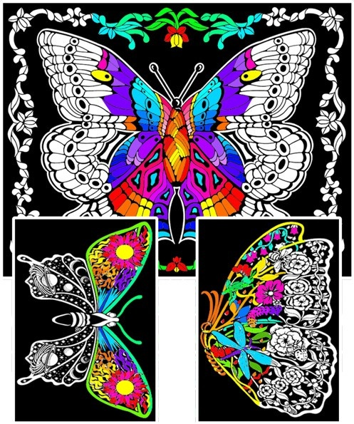 Large Fuzzy Poster To Color   Geo Butterfly   23x20 - Stuff2Color
