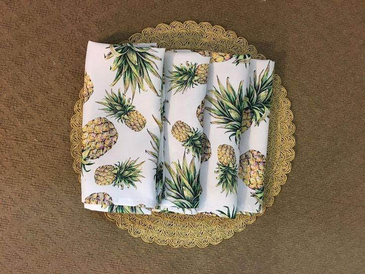 "Isaac Mizrahi ""Pineapple"" Wh Gr Yel Poly set of 4 20"" sq. Table Napkins  NWT #IsaacMizrahi"