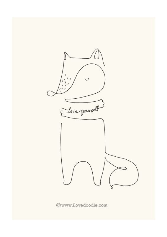 Line Drawing Of Yourself : Love yourself fox by ilovedoodle doodle of the day