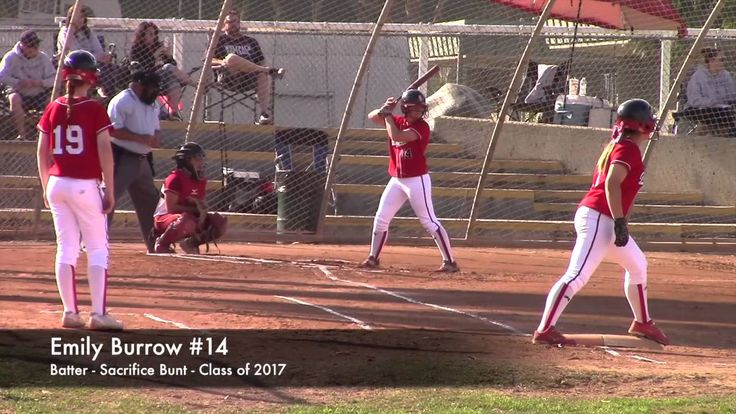 CA High School Varsity Softball. Sacrifice Bunt: Great Oak vs La Serna. ...